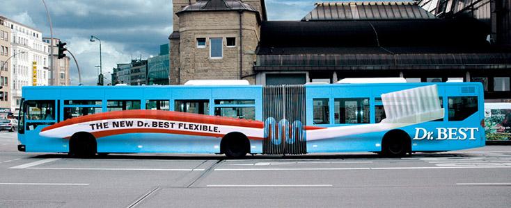 Dr. Best Flex Bending Toothbrush Bus Wrap