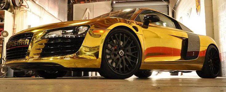 Tyga Gold Audi R8 sports car wrap