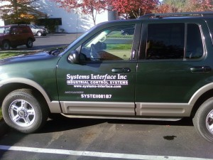 SUV with company lettering