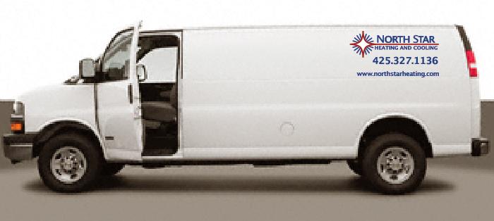 van with vinyl graphic