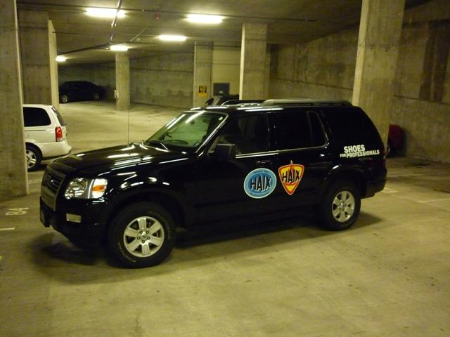 SUV in parking garage